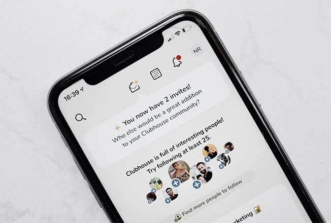 screenshot van de clubhouse app